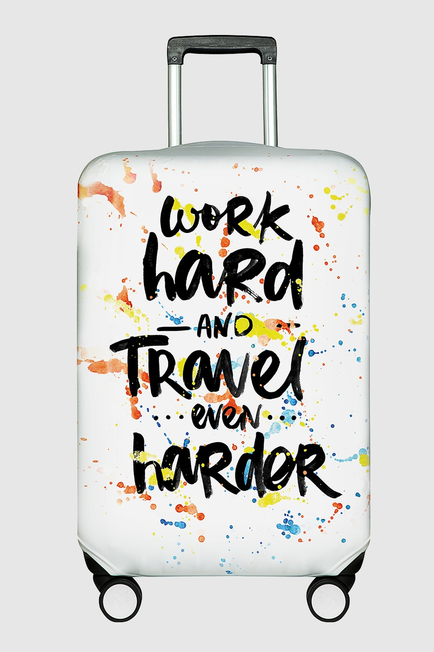 Чехол на чемодан «Work hard and travel even harder»