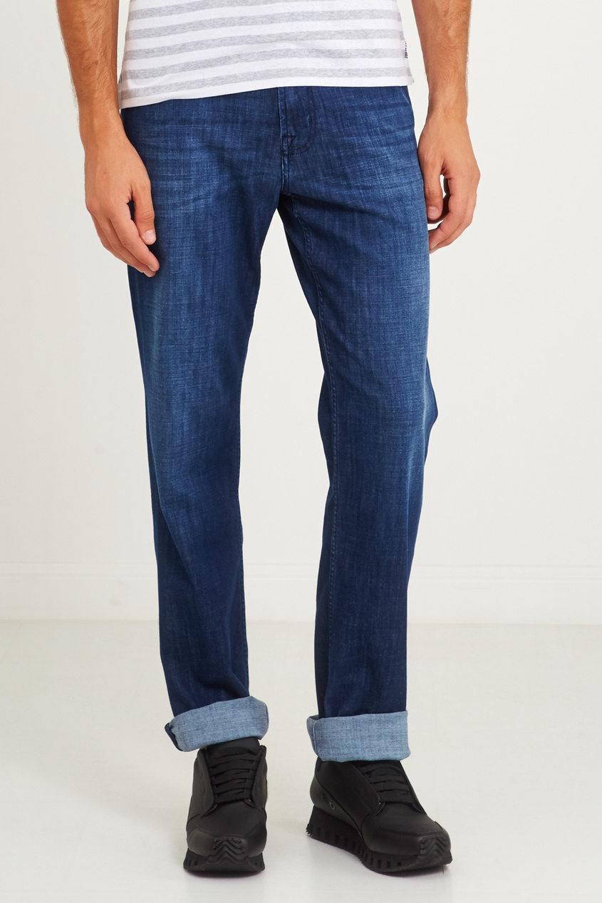 7 For All Mankind Синие потертые джинсы 7 for all mankind потертые джинсы