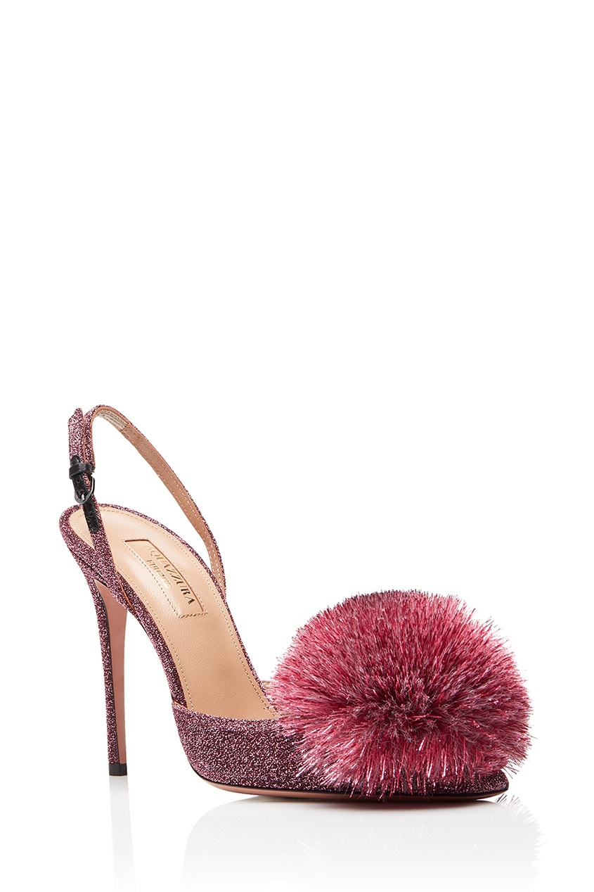 Туфли с люрексом Powder Puff Sling 105 Aquazzura